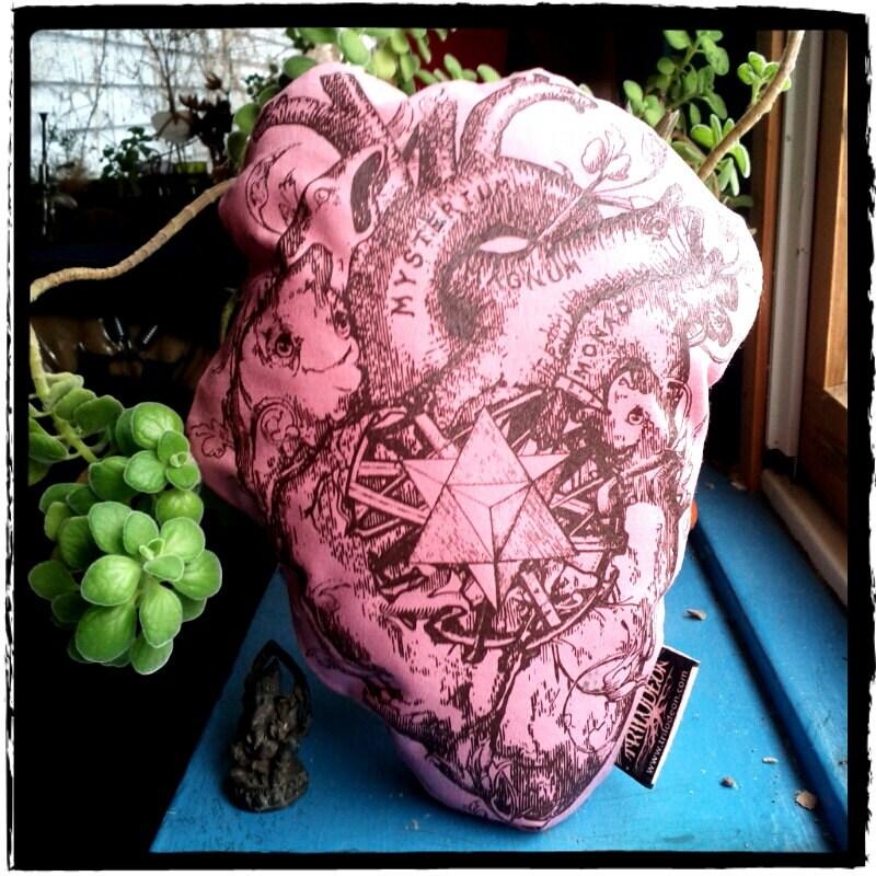 Heart Plushie Anatomical Heart Pillow Magic Merkaba Original Art Silkscreened Pink LOVE VALENTINE Ecofriendly