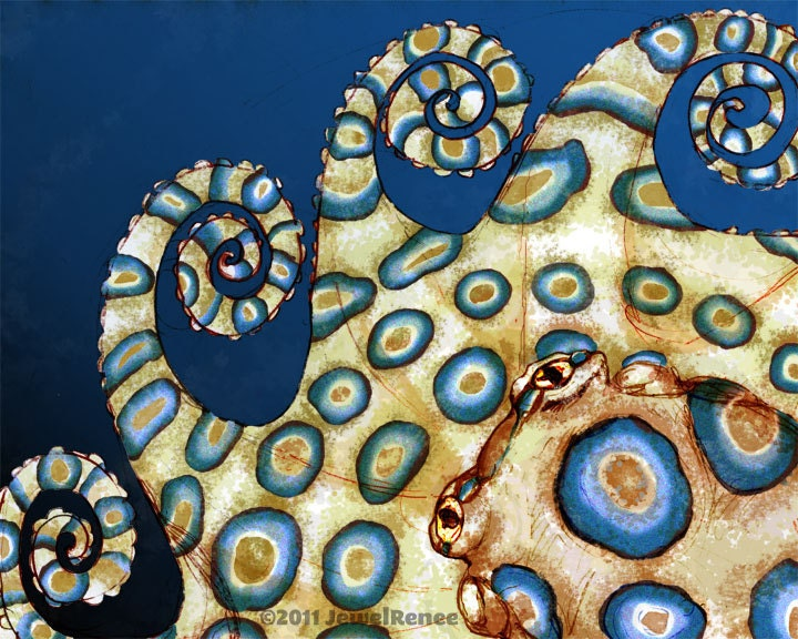 "Octopus Art Print - BLUE RING - 11x14"" Watercolor Inspired Blue and Cream Print"