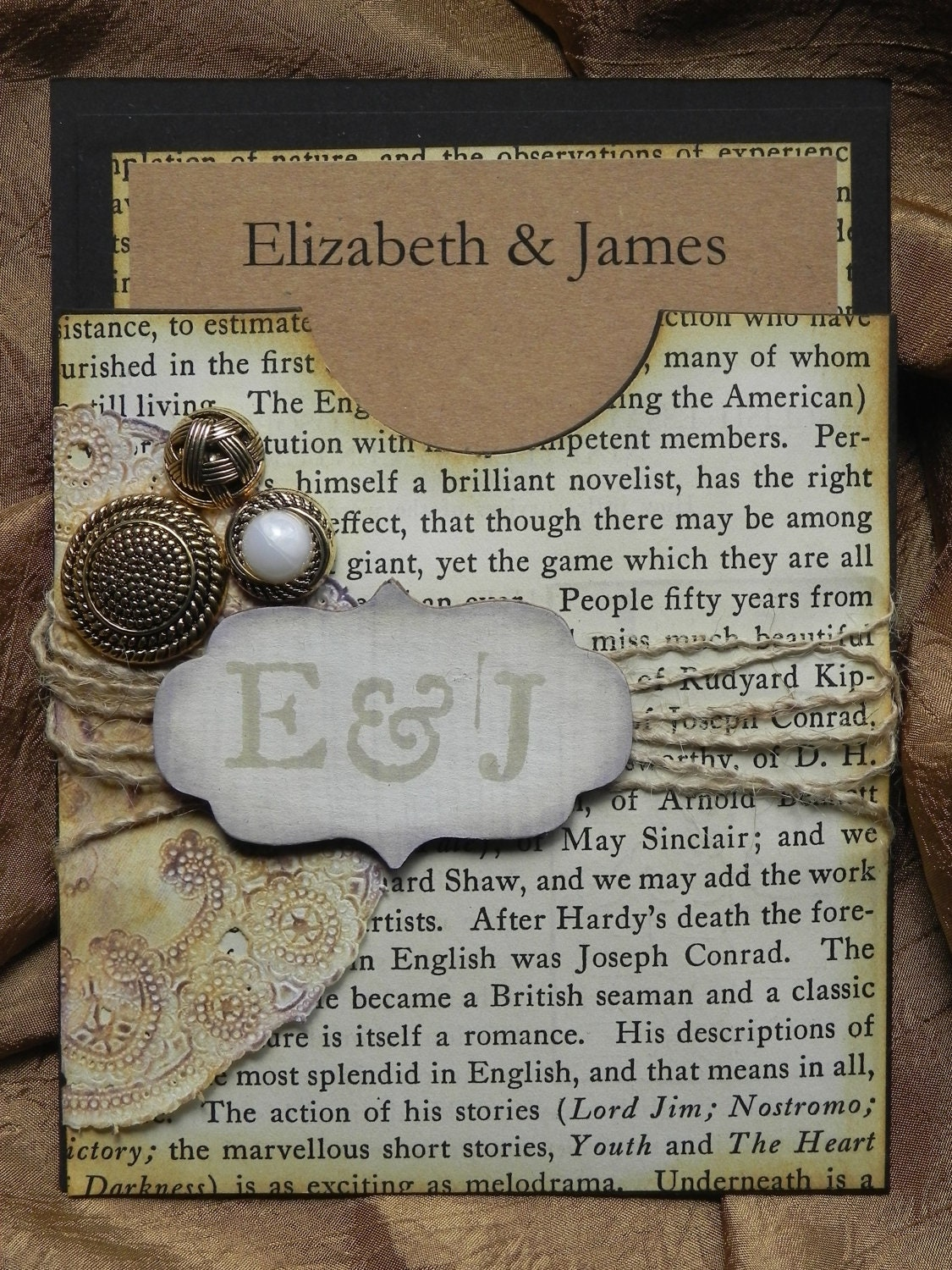 Weathered Elegance Rustic Victorian Style Pocket Wedding Invitation Suite