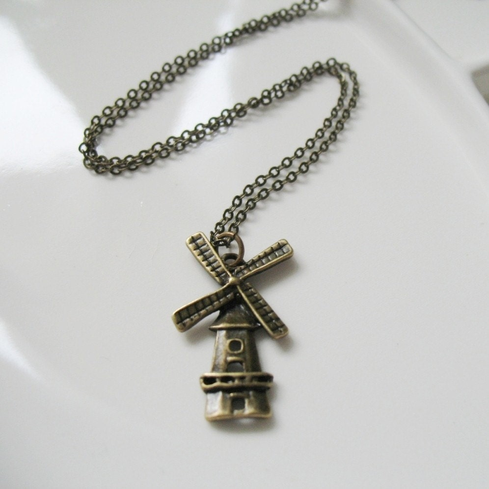 Dutch Windmill Brass Charm Necklace