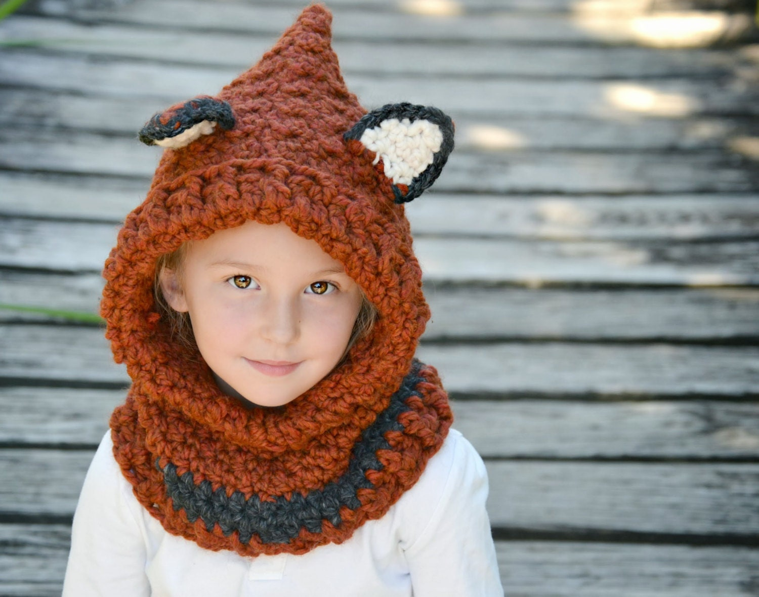 Free Crochet Fox Cowl Hat Pattern : On Sale Crochet Fox Hooded Cowl Hat Toddler Child by Oliviella