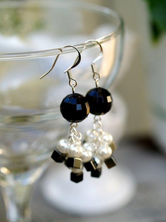 Black, Pearl and Mirror Drop Earrings
