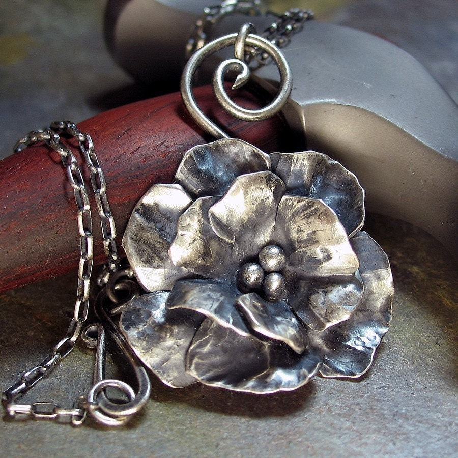 Handmade Sterling Silver Rose Flower Pendant - Old World Rose