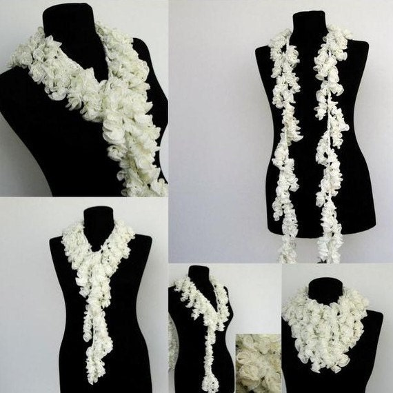 Handmade Spark  Ayca  SALE  Oxblood Ruffle Scarf Crochet Scarves  Crochet Scarves For Sale