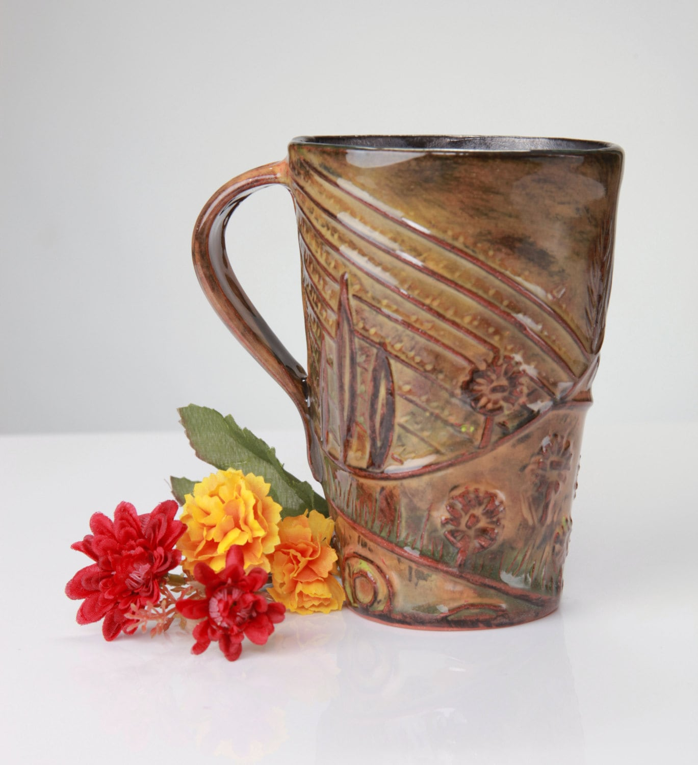 Under the Tuscan Sun, harvest time mug, in subtle, muted gold, orange, red, and olive green - Eekazookie