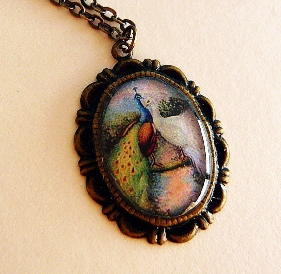 Peacock Lovers Cabochon Necklace by MaruMaru on Etsy