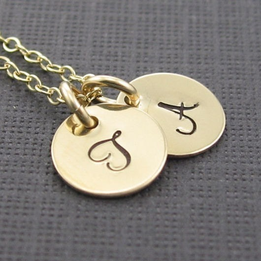 initial engraved pendant necklace by prolifiquejewelry