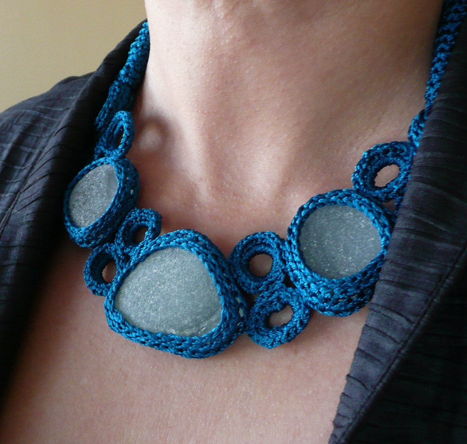 Teal necklace with 5 sea glasses - OOAK