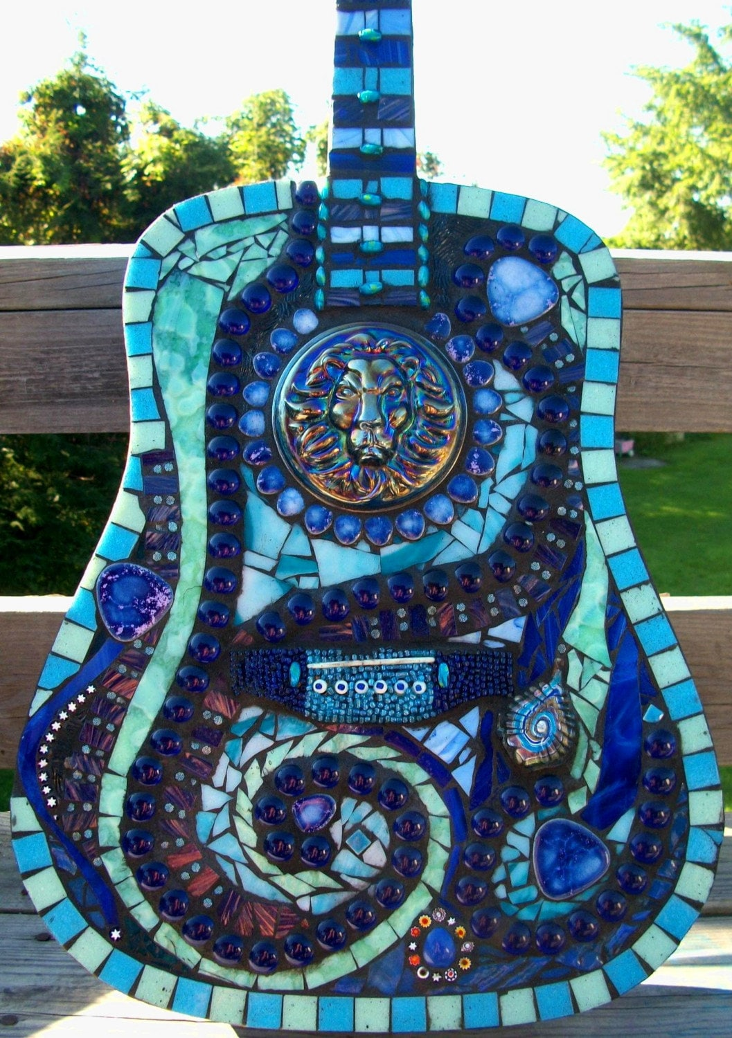 Stained Glass Mosaic Blues Guitar