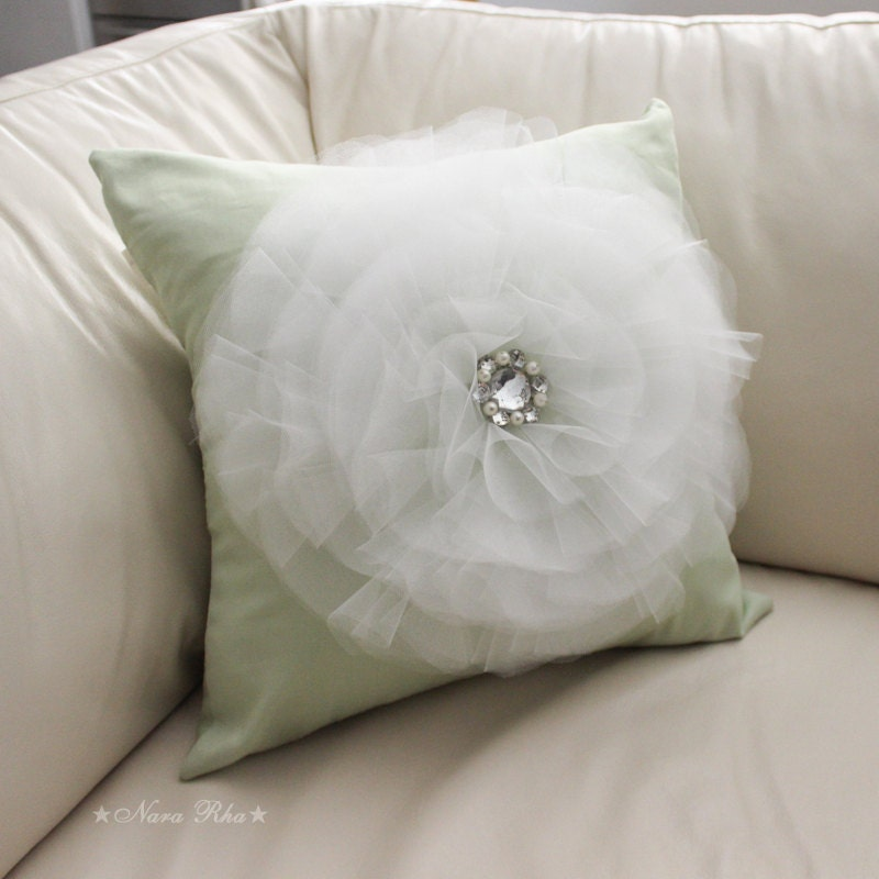 Mint Flower Pillow Cover Decorative Pillows Wthie by NaraRha