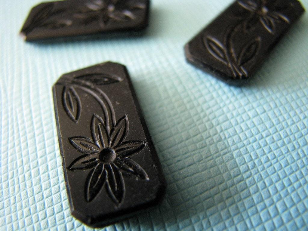 SALE -- 3 black carved flower stones