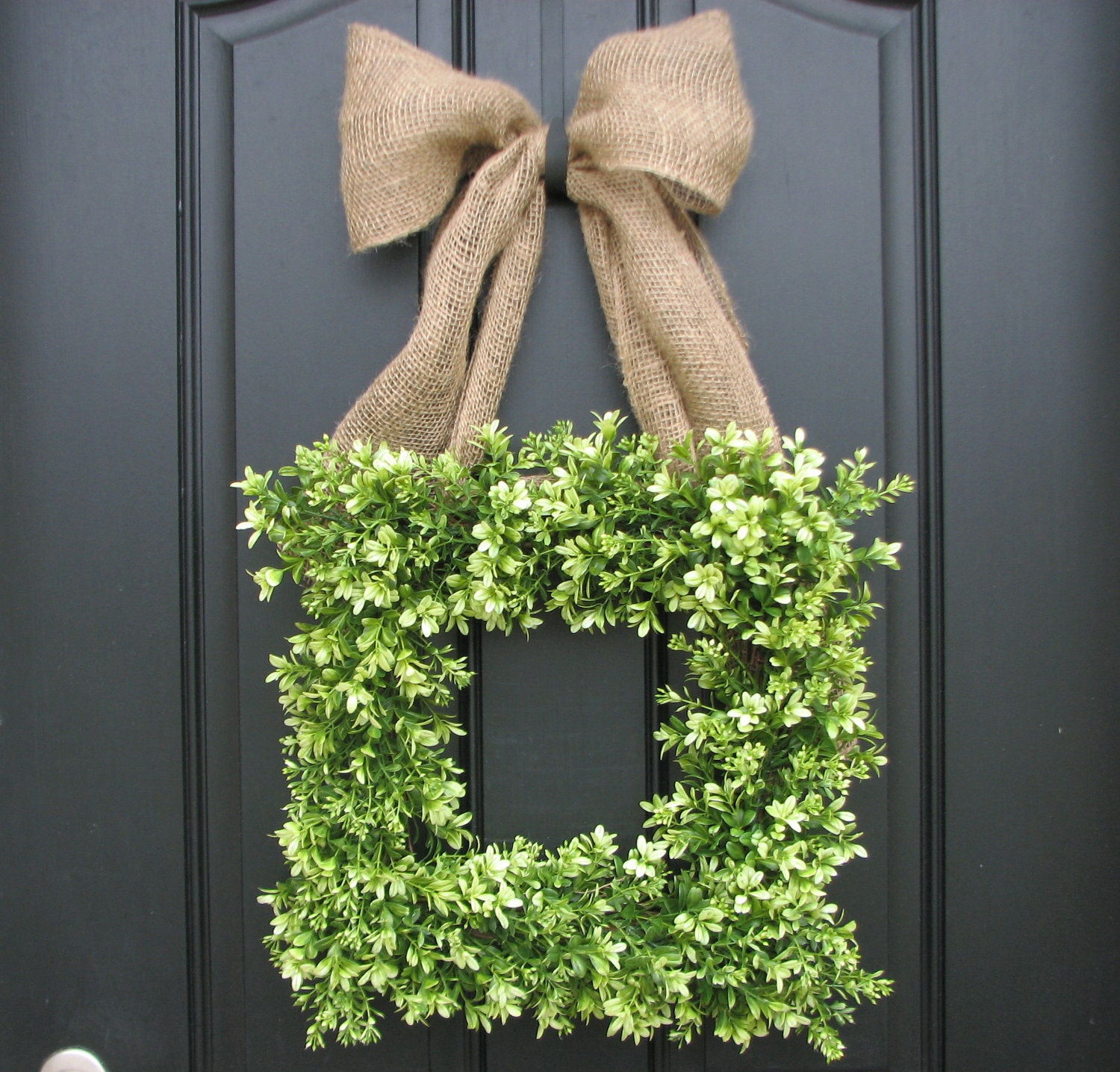 Boxwood Wreath - Boxwood Wreath with Burlap