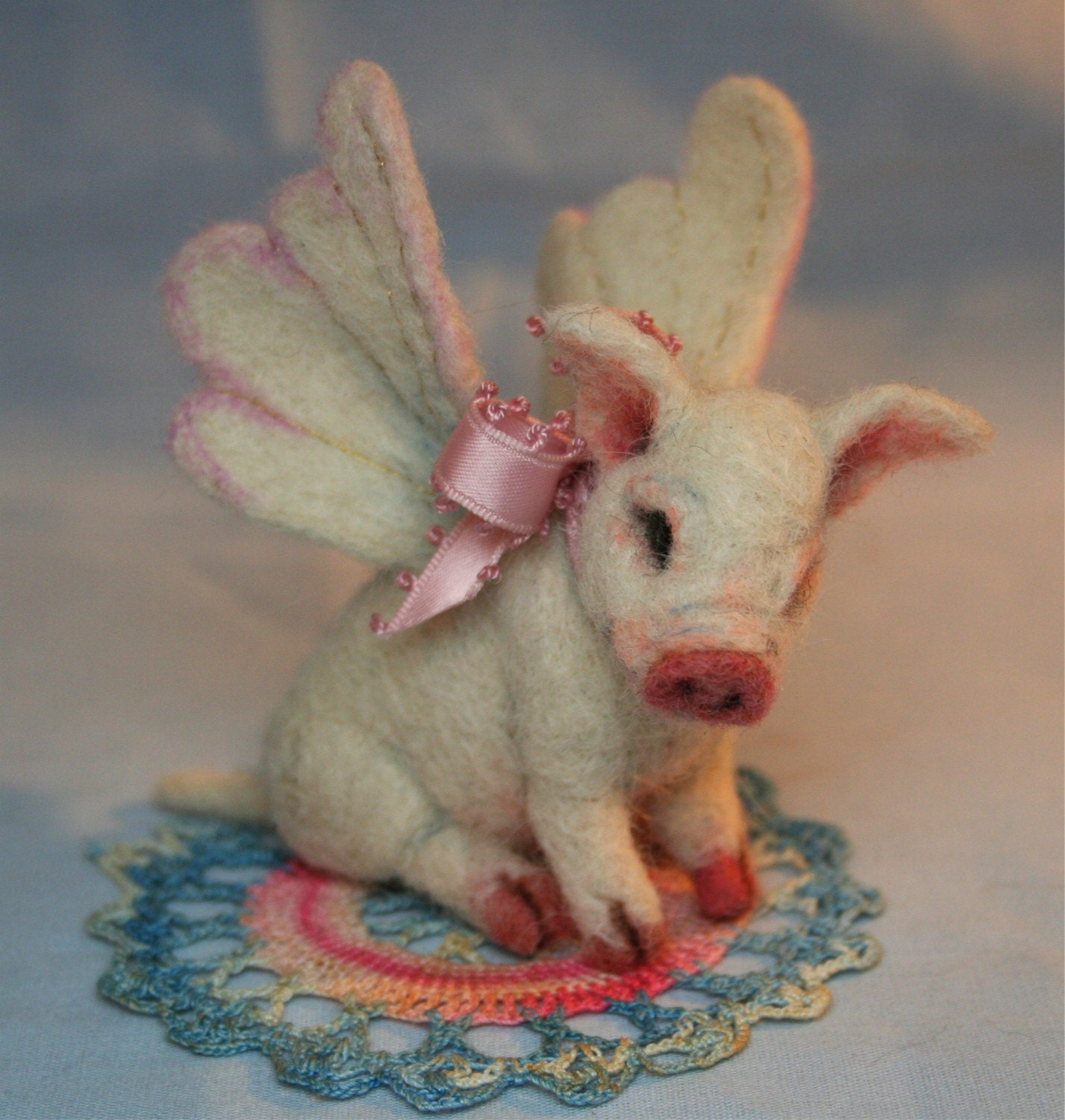 Reserved for IMANFORD  When Pigs Fly  OOAK Needle felted Piglet Special Price