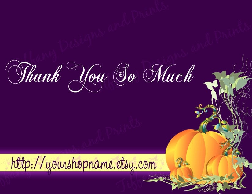Thank You Cards - Fall Harvest Roasted Pumpkin, 12 pcs OR Digital File