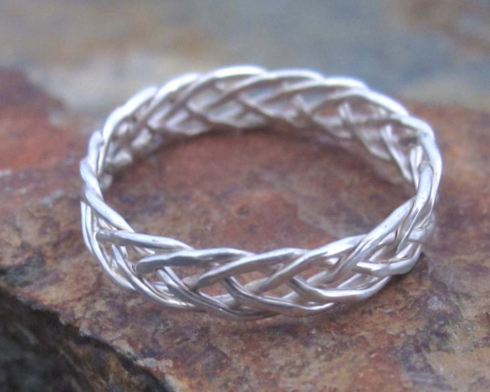 sterling silver braided ring 3mm 5 strand by miscandmiscellany