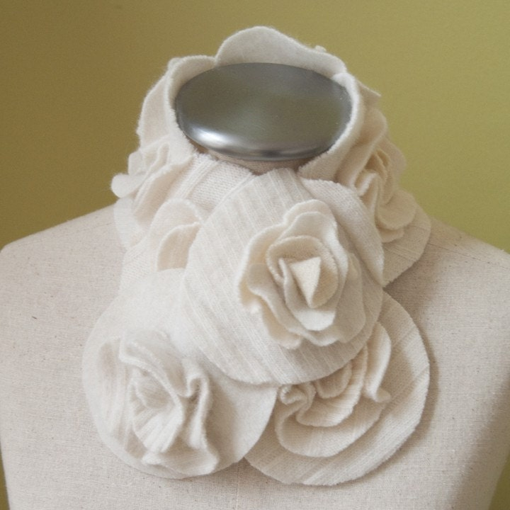 Winter White flower ruffle rose scarf scarflette ... My original design As seen on The Today Show