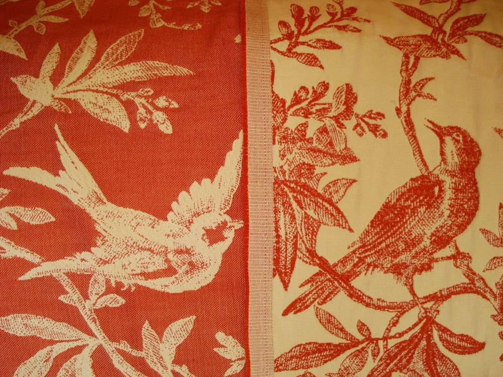 Reversible Upholstery weight Fabric with Bird Motif