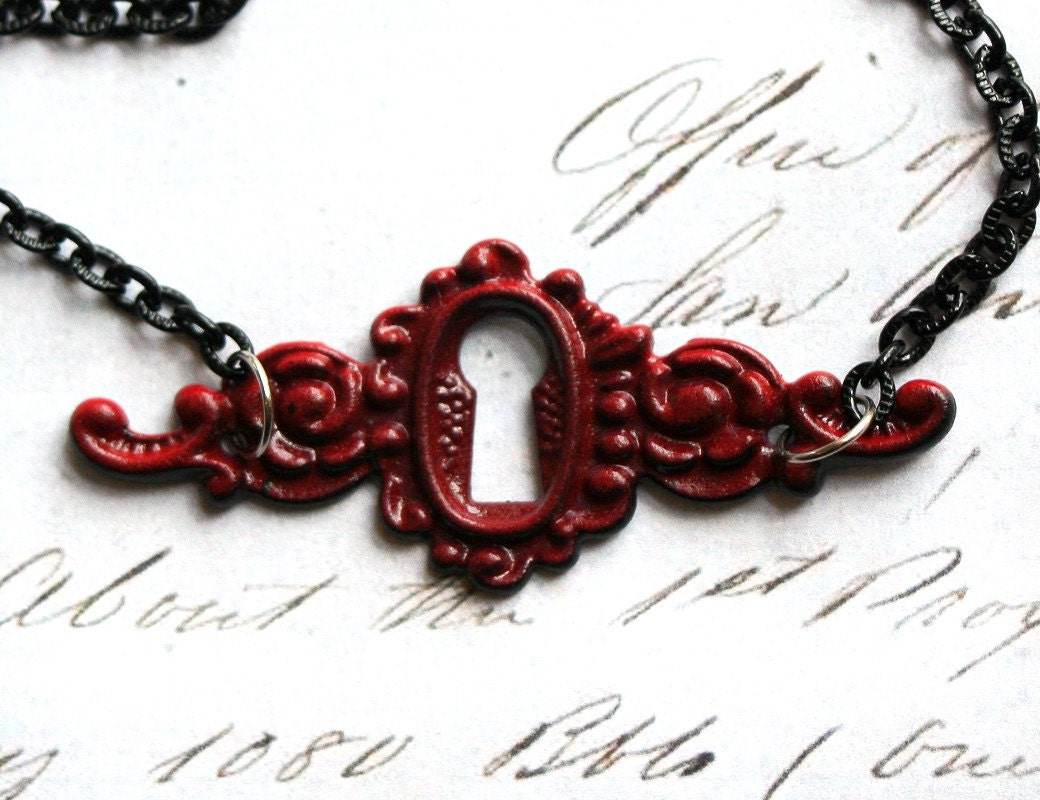 Vampire Kiss Necklace - Blood Red Enamel Keyhole Neo Victorian Black Gothic Lolita Romantic