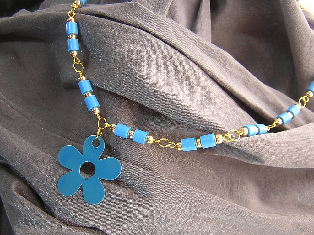 Gold and Blue Daisy Flower Charm and Beaded Necklace Handmade by Rewondered