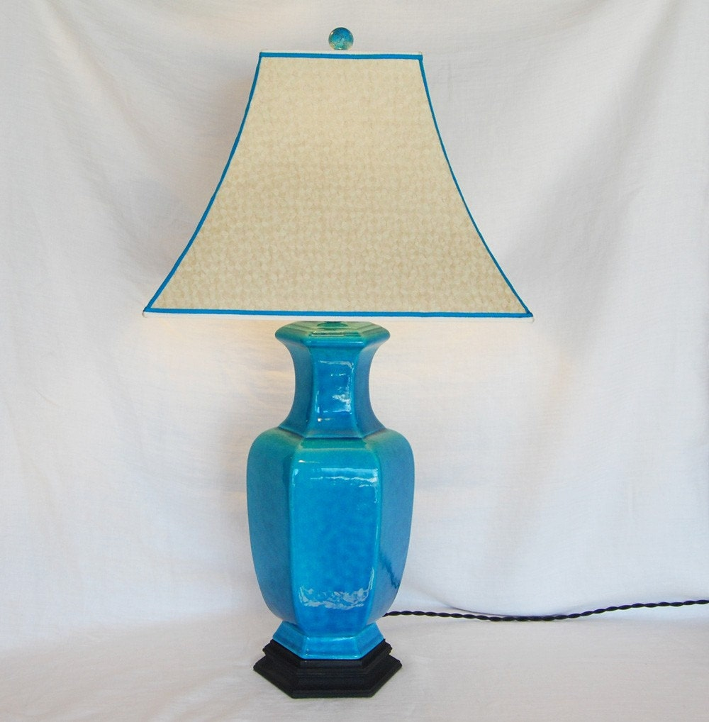 Vintage 1930's Peacock Blue  Lamp w/Handmade Shade by Shandells from etsy.com