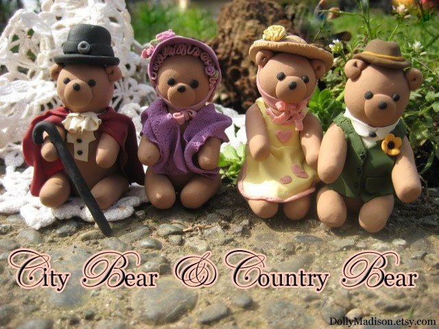 City Bear & Country Bear polymer clay bears set of four