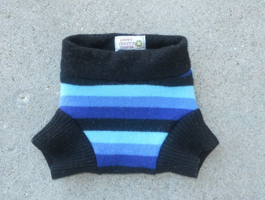 Small recycled wool soaker shorties, cloth diaper cover, bold blues and black