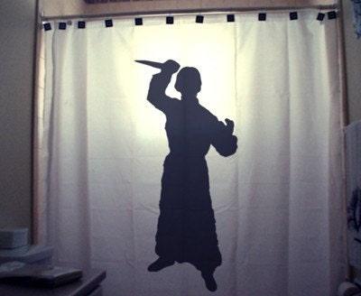 Crazy psycho shower curtain scary halloween horror killer stab knife