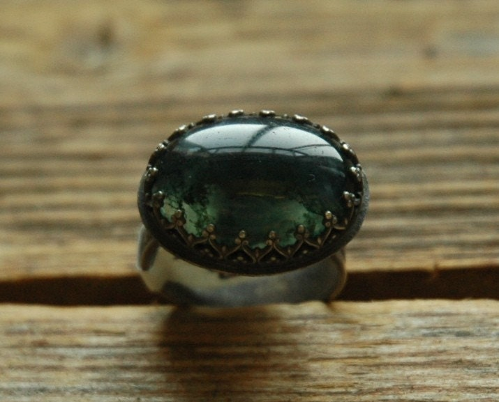 Sterling Silver Avalon Ring with Oval Moss Agate Cabochon
