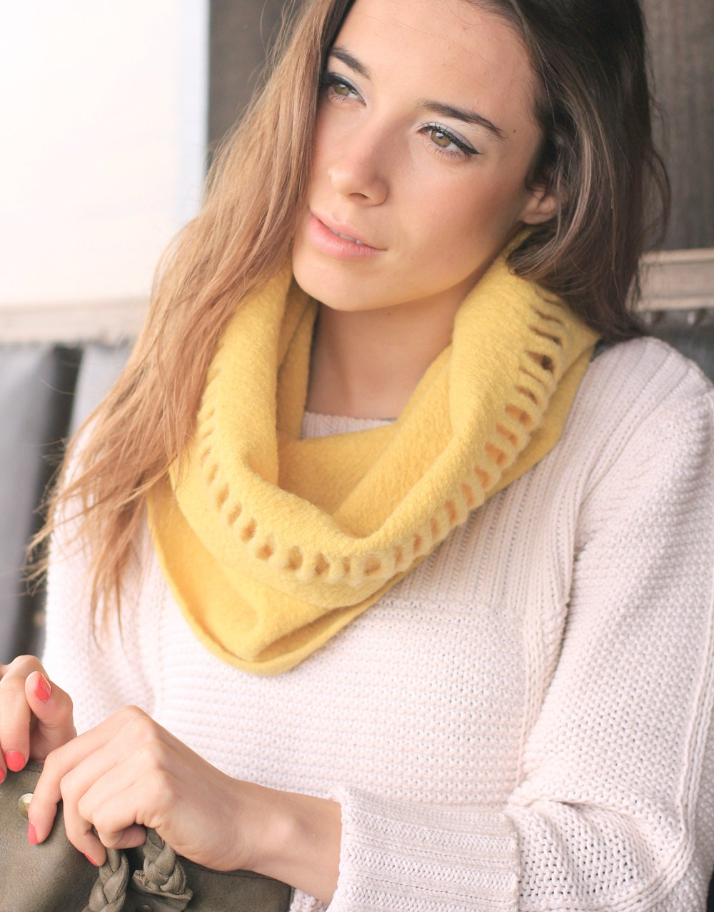 Yellow cowl scarf, Circle scarf, Sun yellow Neckwarmer, merino wool felt by Texturable
