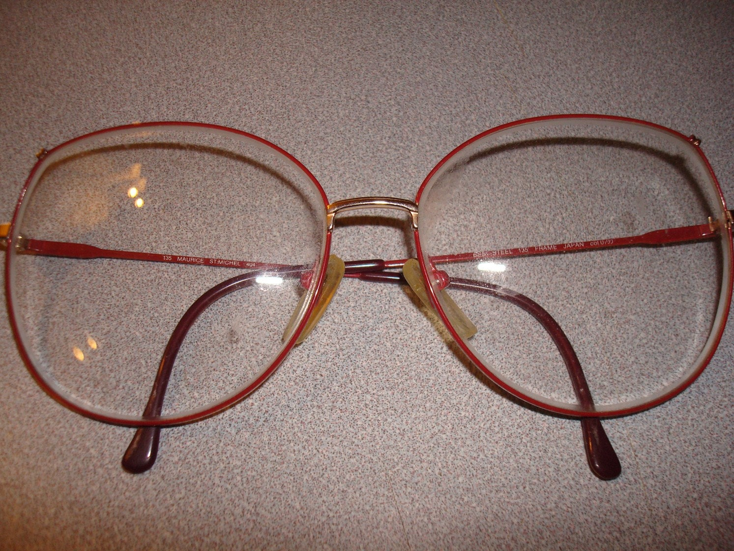 Vintage ESS Steel Red Frame Wire reading glasses Large