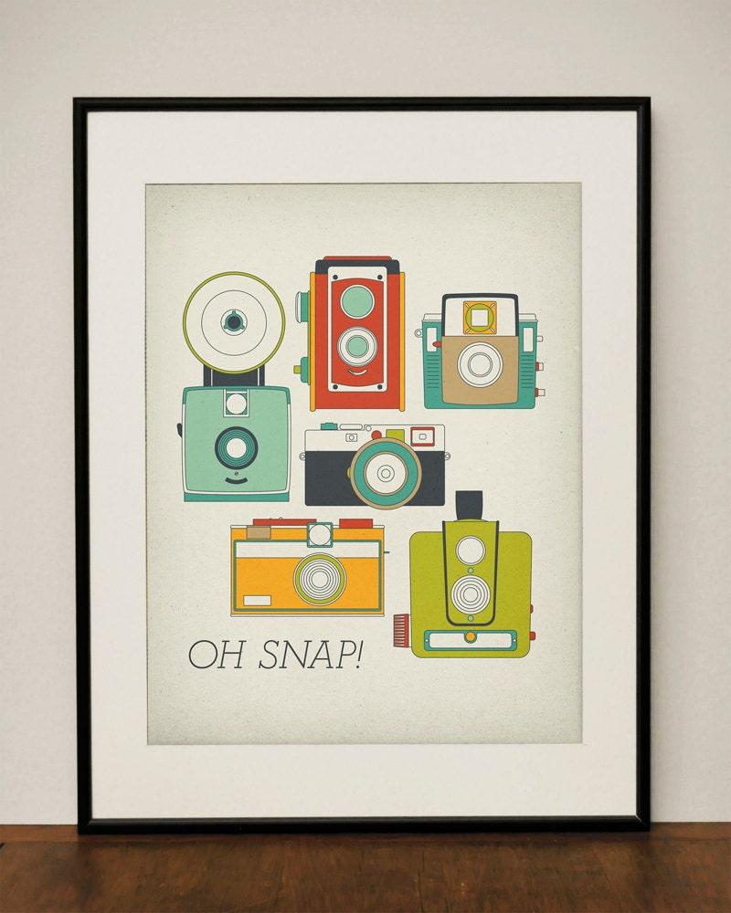 Oh Snap Retro Vintage Camera 11x14 Art Print