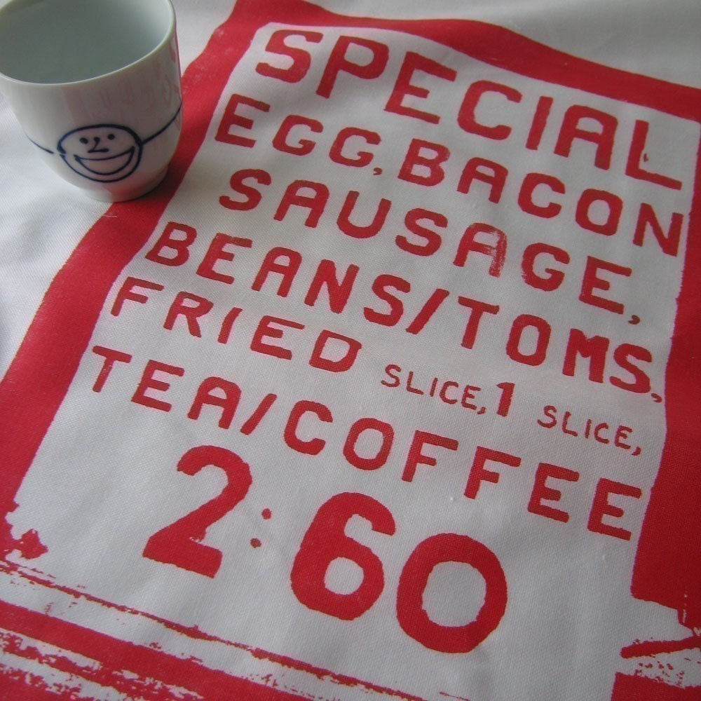 Full English Breakfast Tea Towel - red
