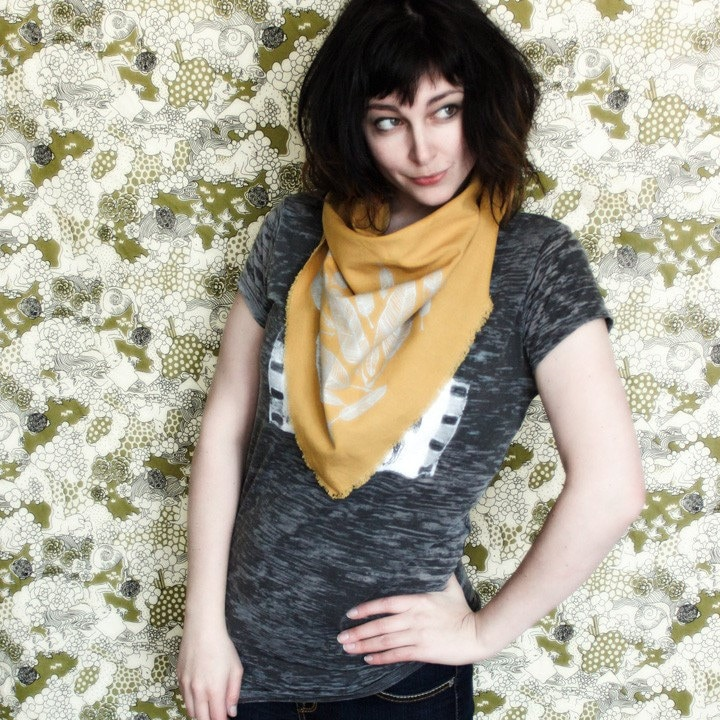 Linen Blend Triangle Scarf- Golden Yellow with Silver Feathers