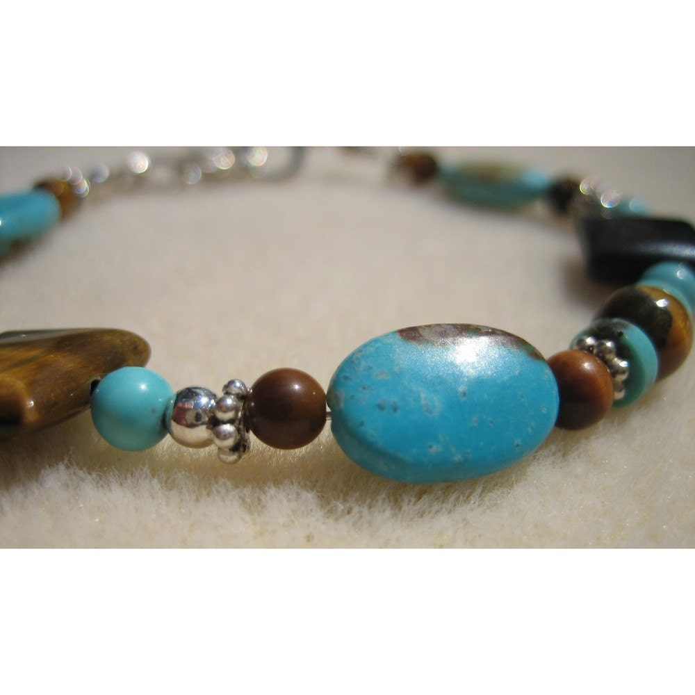 Turquoise, Tigers Eye Bead and Sterling Silver Bracelet