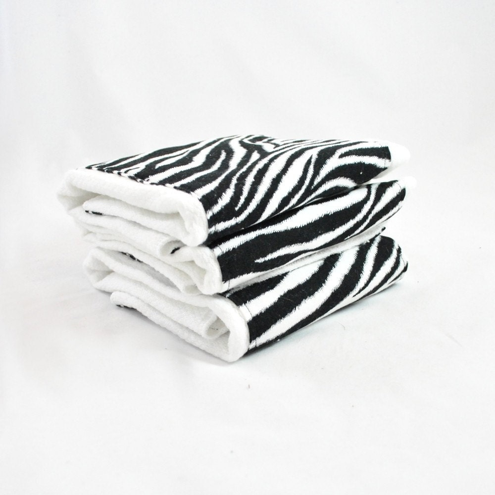 Zebra Print Embellished Pre-fold Burp Cloth--Set of 3