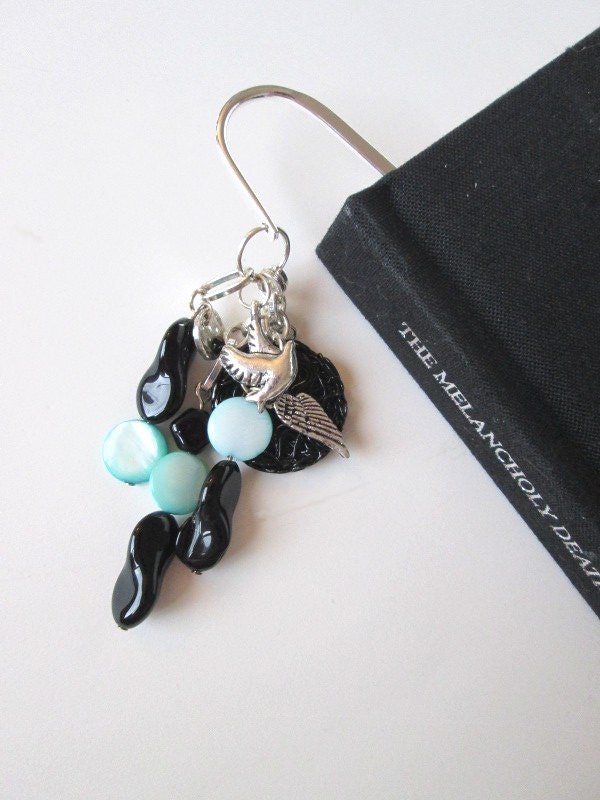 Black and teal beaded winged metal bookmark - PepperboxCreations