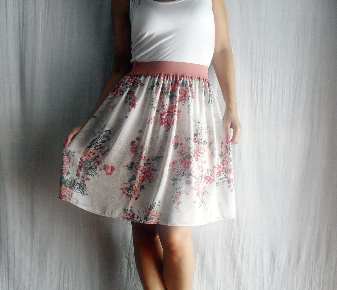 pink flowery knee skirt knee length floral skirt by