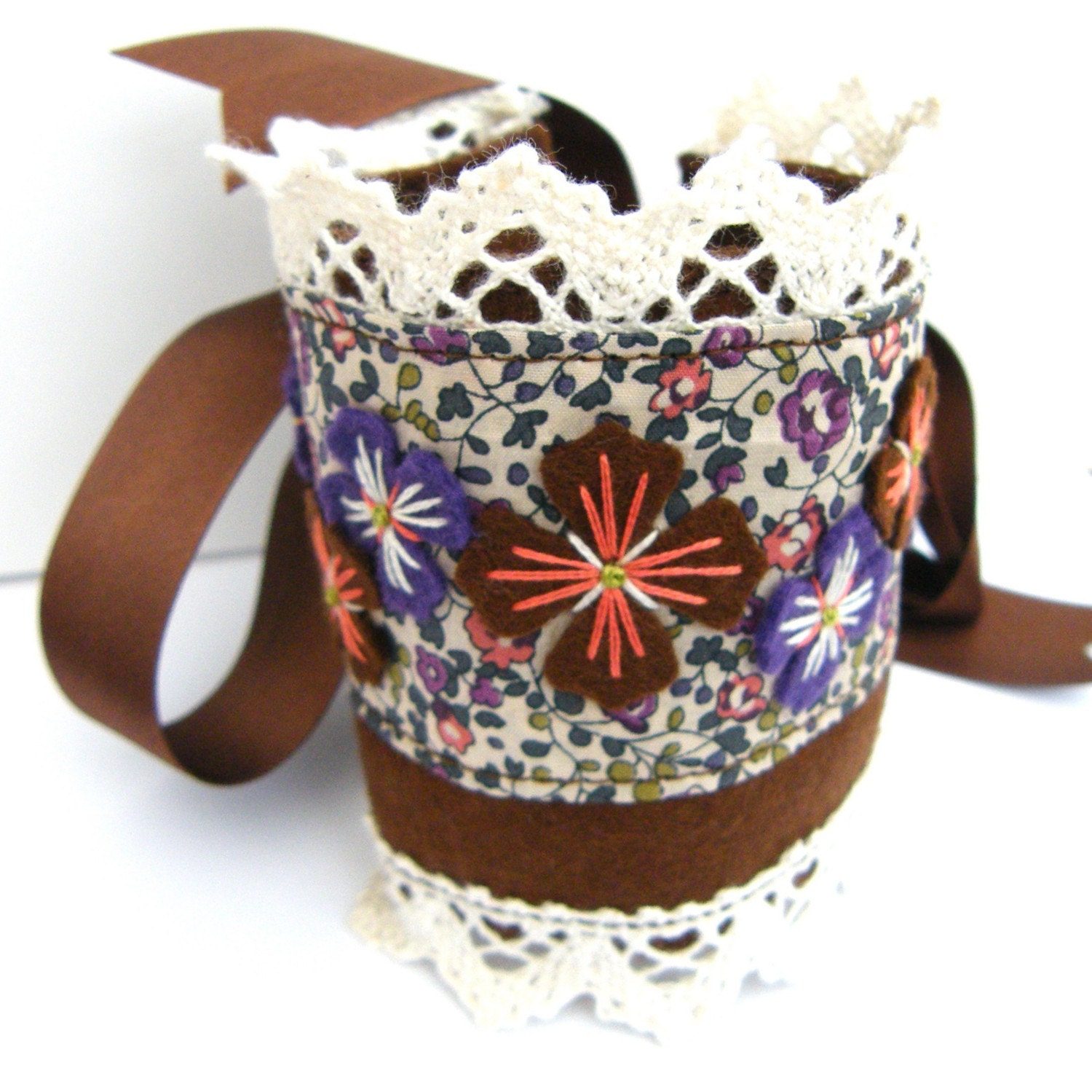 LIBERTY OF LONDON FABRIC AND FELT CUFF WITH FREEFORM EMBROIDERY AND COTTON CROCHET LACE