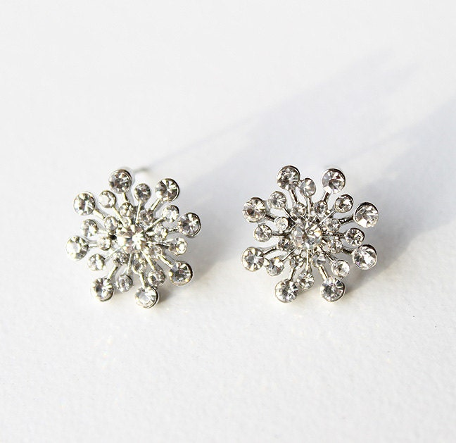 Crystal Snowflake Earrings. Winter Wedding Bridal Bridesmaid Accessory Silver Crystal Snowflake Christmas Jewelry Gift - annasinclair