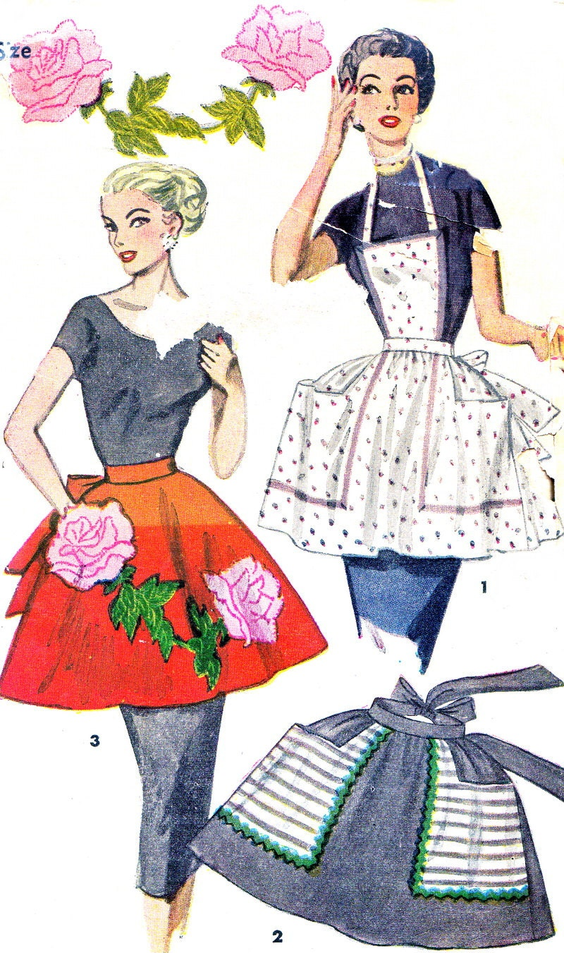1950s Apron Pattern Simplicity 4478 Full Apron Half by
