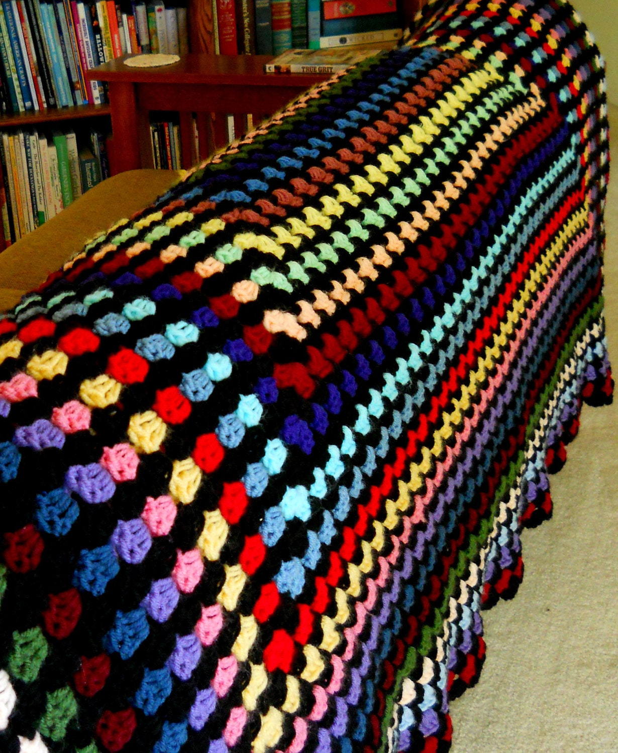 Crochet Blanket Granny Square Stained Glass by alisunflowers