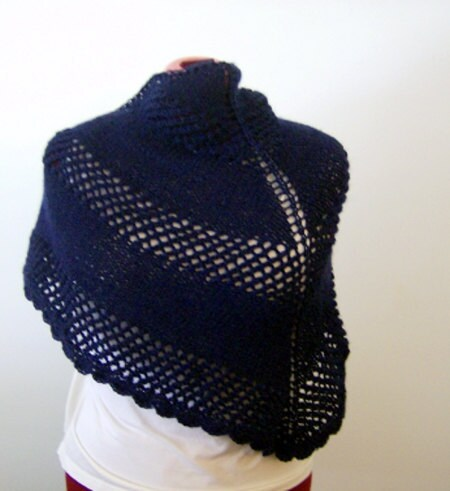 READY TO SHIP Navy Blue Eyelet Shawl