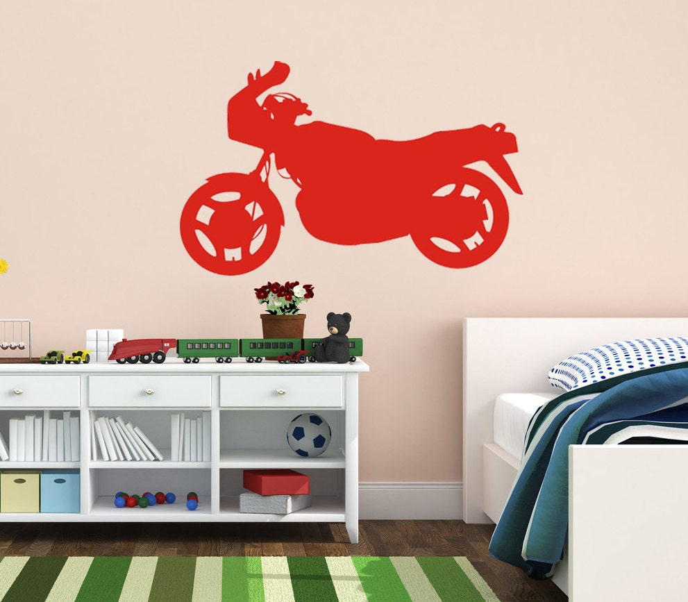 Motorcycle wall art home decor vinyl decal by villagevinepress for Motorcycle decorations home