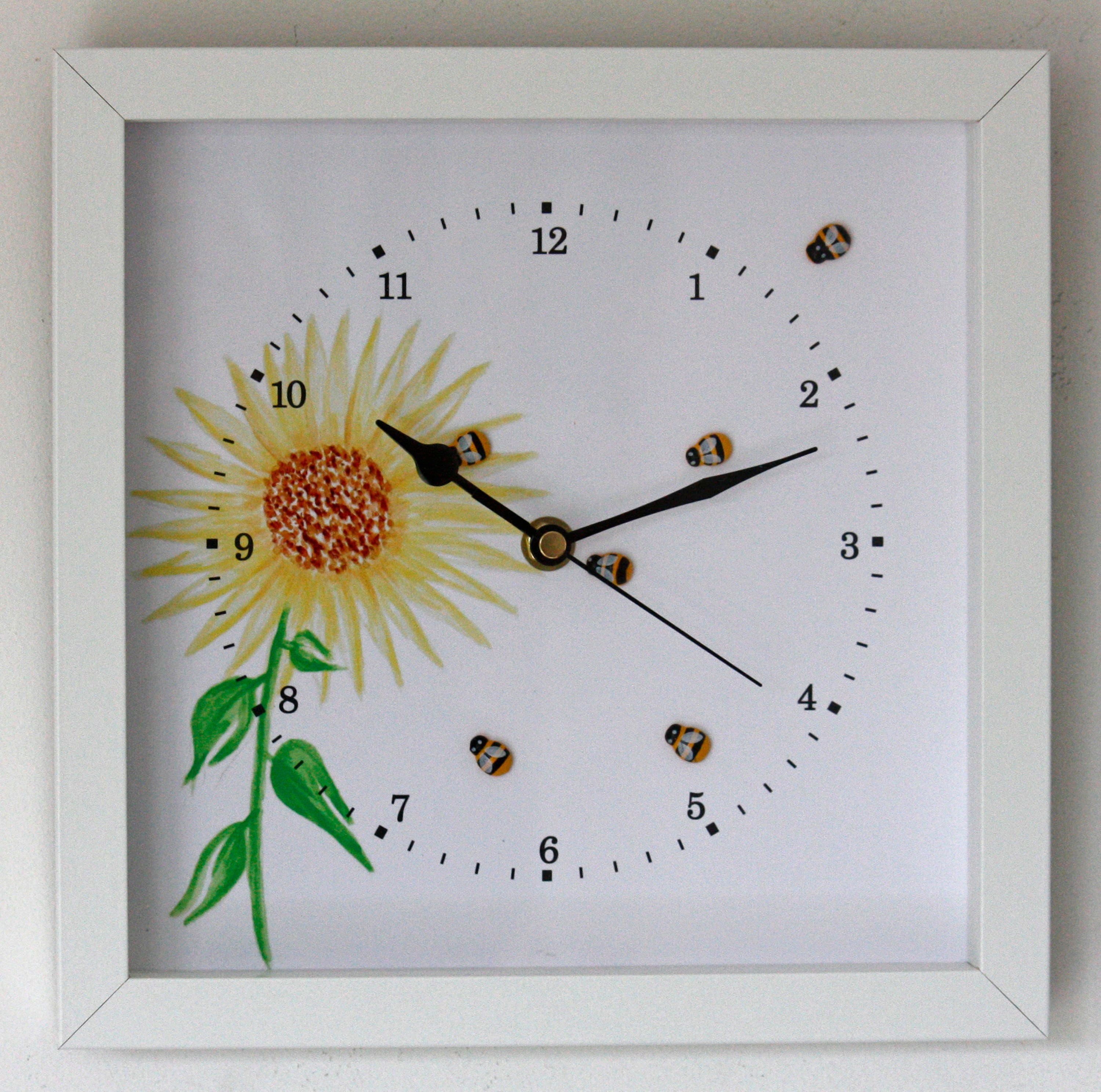 Image of NEW 25cm Bees Wall Clock Flowers Modern Country Style Watercolour Painting