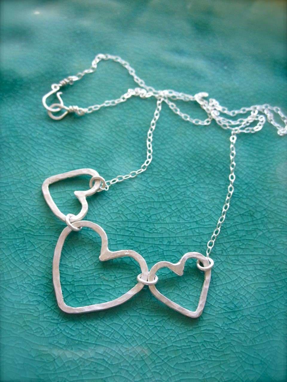 String of Hearts - Sterling silver heart necklace