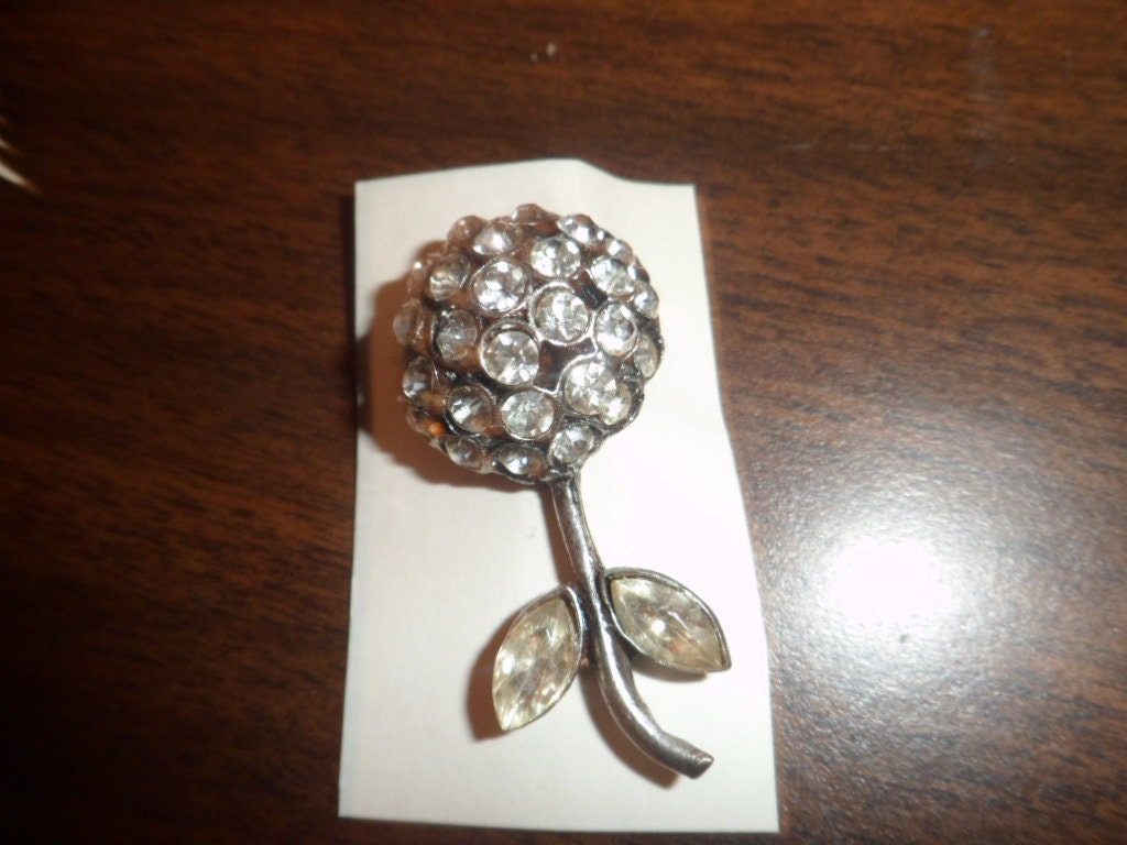 Vintage Antiqued Silver Flower Pin