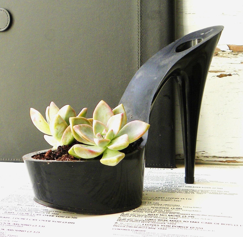 Floozy. reclaimed stiletto succulent planter