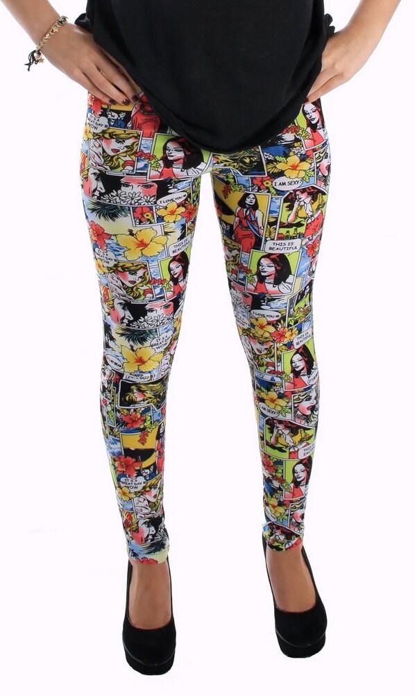 comic strip spandex leggings by gpopclothing on etsy