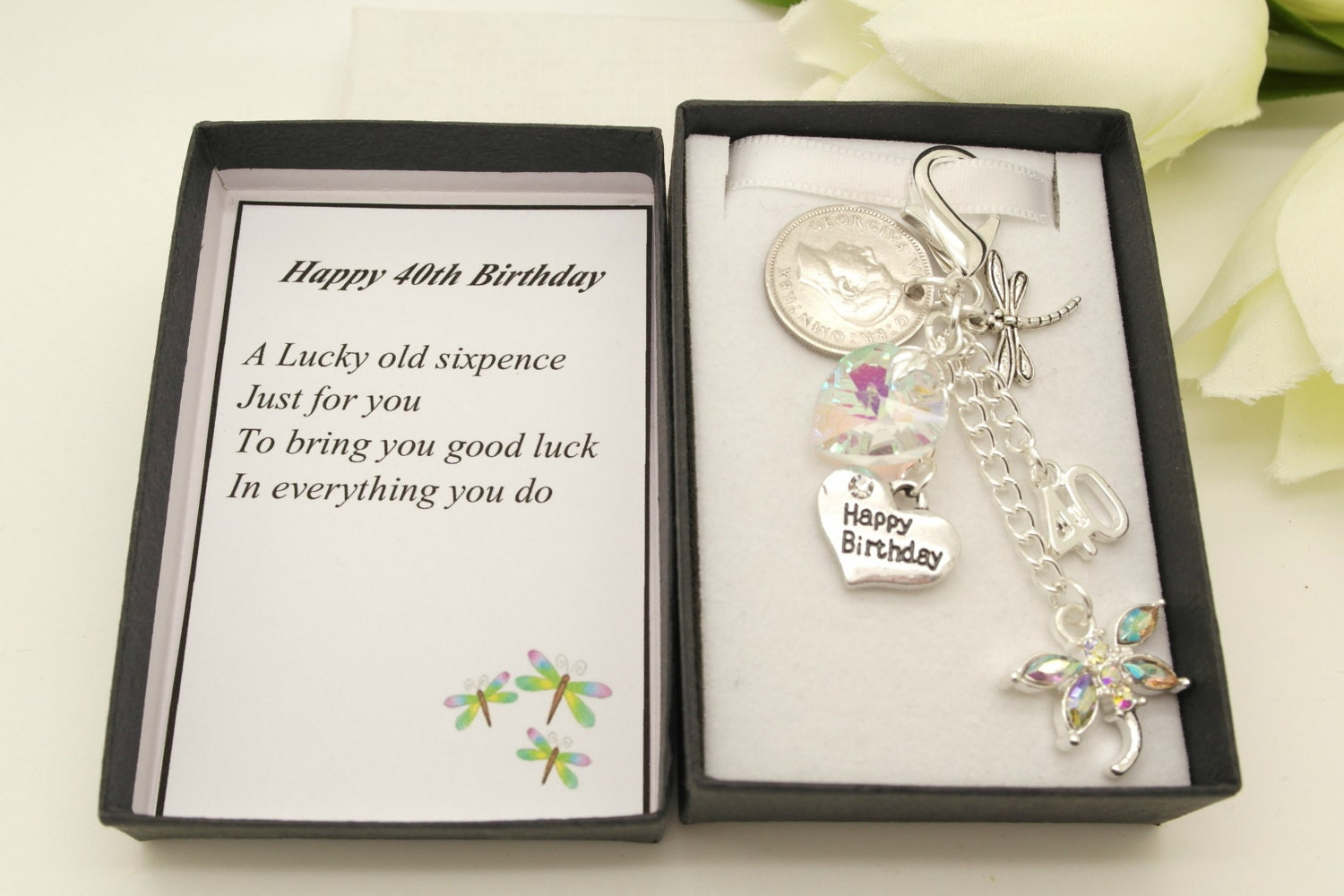 Personalised happy 40th birthday clear dragonfly lucky sixpence charm keyring personalised gift box choice of heart and number charm