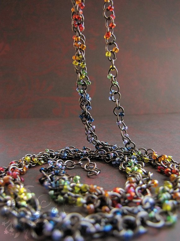 Magickal Necklace - Chakra Colors Two Strand Necklace Red Orange Yellow Green Blue Indigo Violet  - Spinning Layers